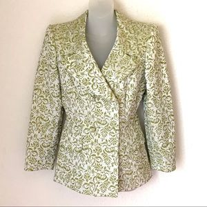 Escada Couture Floral Double Breasted Blazer Sz M